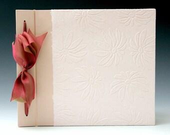 Handmade Photo Album - Pink Embossed Daisy - Large