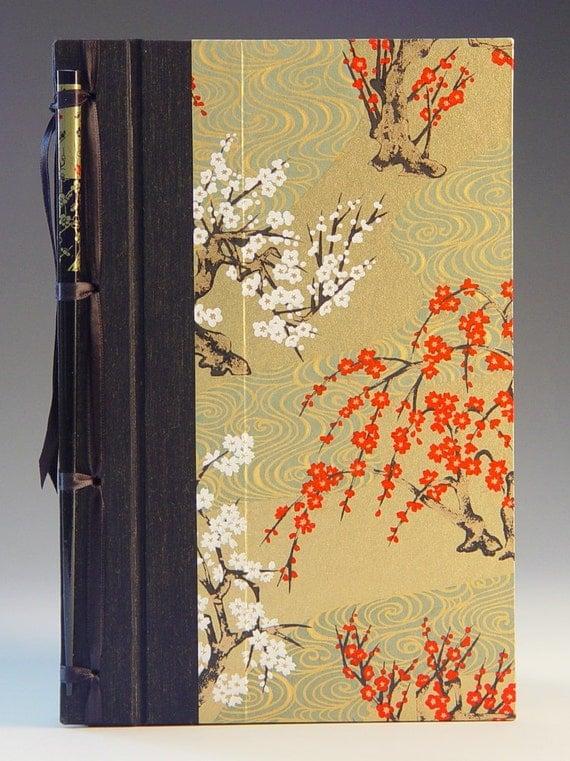 handmade journal cherry blossom hottie by blueroofdesigns