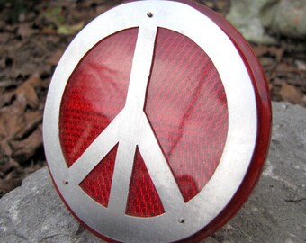 Red Bike Reflector, Lg Peace Sign