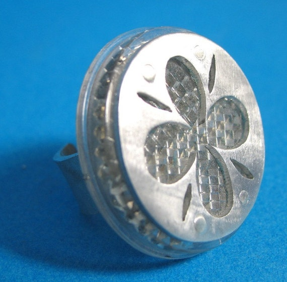 SALE White Reflector Ring