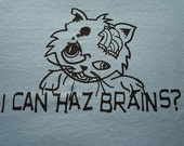 Zombie Cat I can haz brains t-shirt