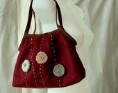 Wool circles with buttons -- wine red felt tote