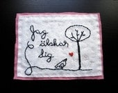 Hand Embroidered Felt Card Jag alskar dig I love you