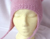 Kitty Cat Hat Hand Knit Lambs Pride Super Wash Wool In Strawberry Chiffon