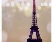 Landscape - Eiffel Tower Photograph - Paris Photography - French Photograph - Paris Art - Sparkle - Light - Lumiere - Purple - Fine Art
