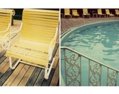 Polaroid Photography - Swimming Pool - Swimming at the Grand - Fine Art Photograph Michigan Swimming Pool - Film Photography - Diptych