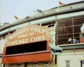 The Cubs Win On Sunday - Fine Art Polaroid Photograph - Chicago - Wrigley Field - Sport - Baseball Art - Alicia Bock - Photography - Blue
