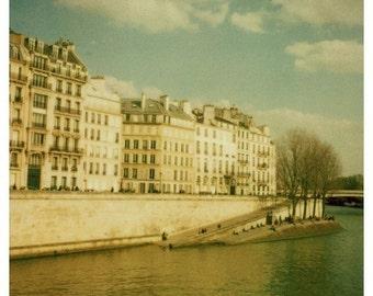 Polaroid - Paris Decor - French Photography - Along the Seine - Fine Art Photograph - Paris Art - French Photo - Green Decor - Oversized