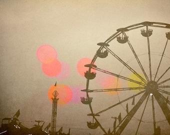 Ferris Wheel Photograph - Carnival - Fair - Return to Summer - Fine Art Photography - Summer Art - Brown - Pink - Neutral Decor - Alicia