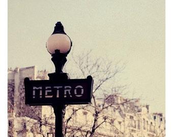 Paris Photograph - Metro - Fine Art Photograph - French Photography - Paris Art - Subway Print - Typography Print - French Photograph - Bock