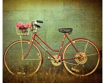 Bicycle Print - Bike Photograph - Fine Art Photography - Old Town - Bike Art - Summer Art - Schwinn Bike - Flower Photography - Green Art