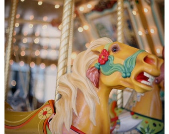 Horse Photograph - Carousel Horse - Fair - Ride - Lights- Fine Art Photograph -  Original Art - Carnival - Fair - Merry Go Round - Child