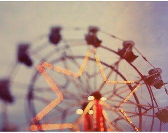 Ferris Wheel Photograph - Carnival - Fair - Summer Photograph - Stars Above - Original Fine Art Photograph - Oversized Art - Alicia Bock