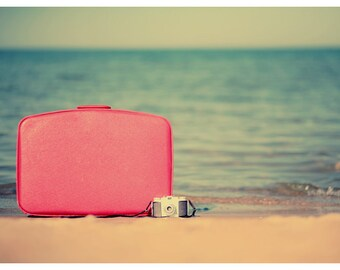 Fine Art Photograph- Beach Photograph- Travel Print - The Traveler - Vintage Suitcase -Vintage Camera -Travel Art - Coastal Art - Beah Print