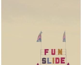 Fair Photograph - Carnival Photograph  - Summer Photograph - Fun Slide - Original Fine Art Photograph - Playful - Childrens Art - Typography