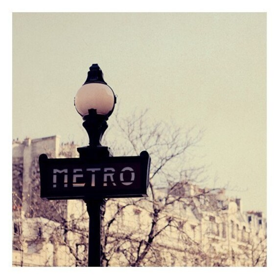 Paris Photograph - Metro- Original Fine Art Photograph - French Photography - Paris - Subway - Sign - Typography - French Photograph -Purpl