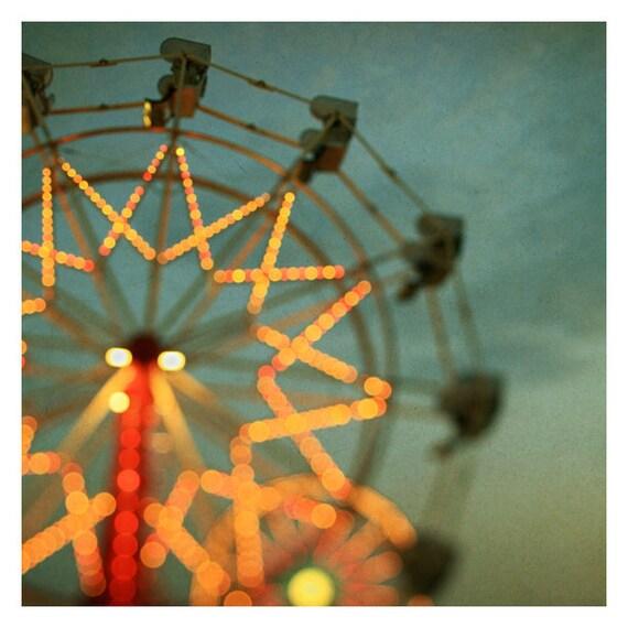 Fair Photograph - Ferris Wheel Photograph - Fine Art Photography - Summer - Fair - Michigan - Lights - Blur - Original Art - Double Trouble