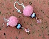 Wool and Pearl Earrings