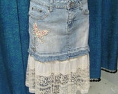 Jean Skirt with Vintage Slip Detail