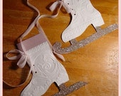 vintage Victorian Ice skates paper PATTERN Christmas ornament Altered Art Scrapbooking