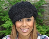 Black Newsboy Hat - Crochet Hat with Brim - Black Hat - Winter Hat for Women - Black Brimmed Hat