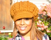Crochet Hat Women - Honey - Crocheted Newsboy Hat for Teen or adult
