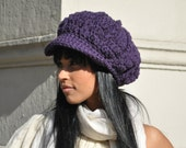 Women's Crochet Hat - Dark Aubergine Purple Newsboy Hat with Brim - Winter Accessories - Women's Accessories Purple Hat