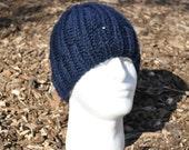 Unisex Navy Blue Ribbed Knit Hat - Slightly Slouchy