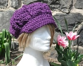 Eggplant Newsboy Hat - Women's Crochet Hat with Brim -  Women's winter accessories Fall Accessories Brimmed Hat