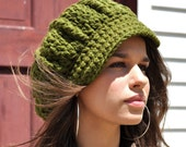 Woman's Crochet Hat - Olive Green - Crocheted Newsboy Hat for Adult