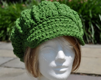 Kelly Green Newsboy Crochet Hat - Women's Newsboy Hat Great for St. Patrick's Day - Winter Hat - Adult Hat - Green Hat