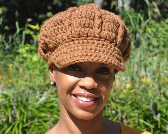 Caramel Newsboy Hat Style - Woman's Crochet Hat with Brim - Women's Accessories - Winter Hat Trendy Hat - Adult Brimmed Hat Crochet Cap