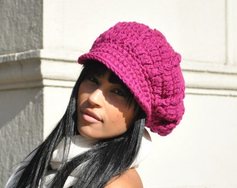 Magenta Crocheted Newsboy Cap - Crochet Hat with Brim for Adult - Winter Accessories - Women's Accessories - Crochet Hat Women and Teens