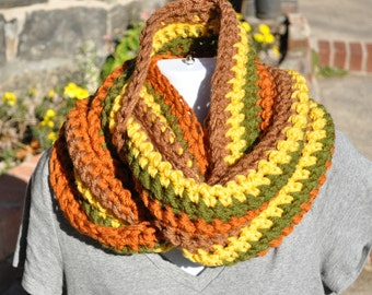 Price reduced!! Crocheted Cowl - Multi-Colored Infinity Scarf- Chunky Knits - Winter Accessories - Yellow, Olive, Pumpkin, Caramel Fall Cowl
