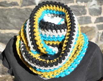 Multi-Colored Infinity Scarf - Chunky Scarf - Crochet Cowl - Chunky Knits - Winter Accessories - Charcoal Heather Grey, Linen, Mustard, Aqua