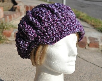 Crocheted Hat - My Signature Newsboy Hat in Purple Boucle - Woman's Hat