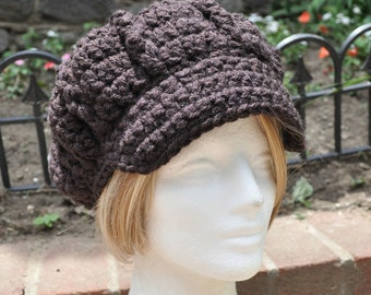 Espresso Dark Brown Newsboy Hat Women's - Crocheted Hat with Brim - Women's Adult Hat - Brown Hat - Chunky Hat - Newsboy Style