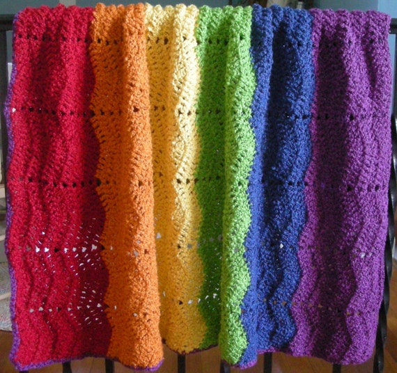 Gay Pride Rainbow Crocheted Cotton Ripple Baby Blanket