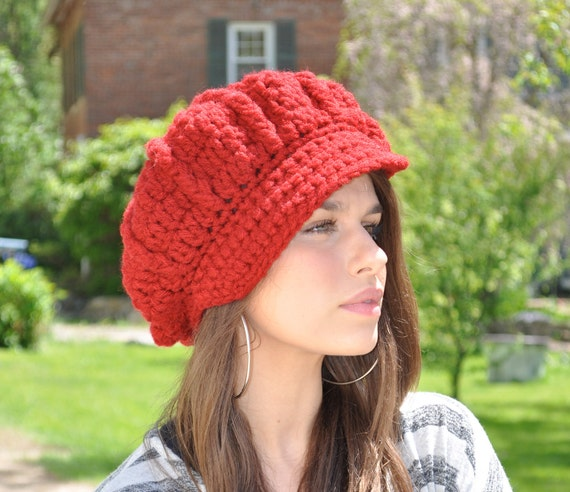 Red Crochet Hat - Cranberry Red Hat - Crochet Newsboy Hat with Brim - Women's Hat - Winter accessories - Hat with visor