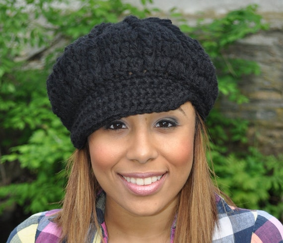 Black Newsboy Hat Crochet Hat with Brim Black Hat Winter