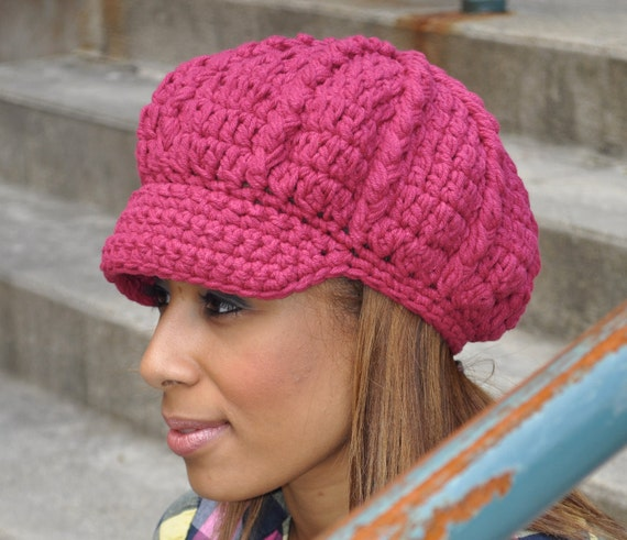 Fuscia Cotton Sunhat - Newsboy Crochet Hat - Fall Accessories - Women's Hat with Brim - Bright Pink Hat