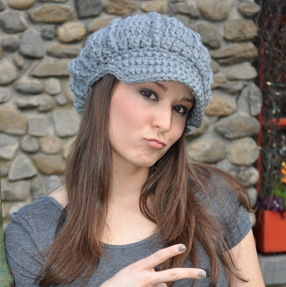 Silver Grey Crocheted Newsboy Hat - Woman's Hat with Brim - Gray Hat Crochet - Women's Winter Accessories - Crochet hat