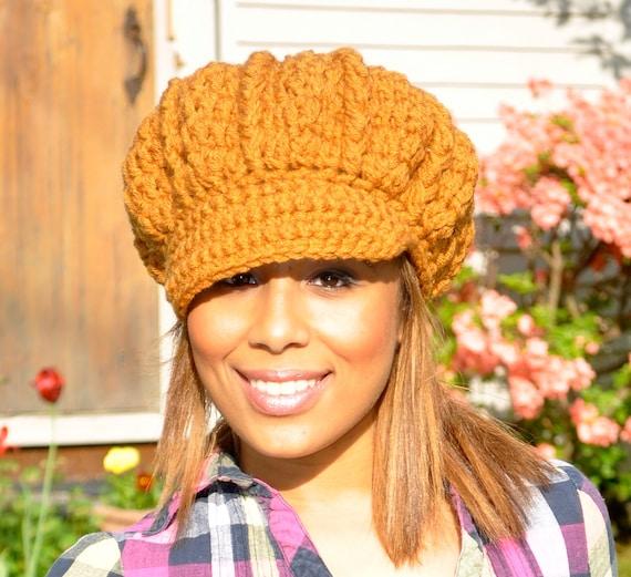 Crochet Hat Women - Honey - Crocheted Newsboy Hat for Teen or adult