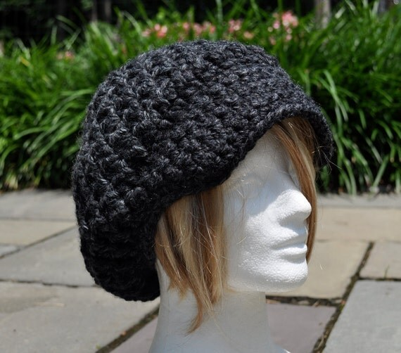 Charcoal Grey Slouchy Newsboy Hat crocheted in Wool/Acrylic Blend