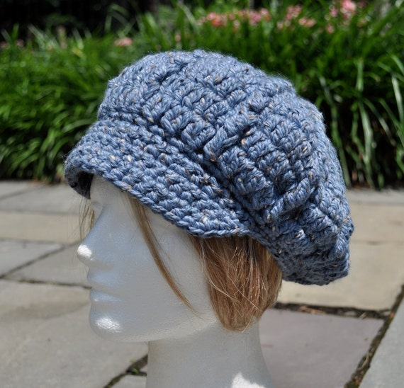 Crocheted Wool Newsboy Hat - Blue Crocheted Hat