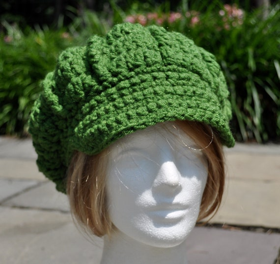 Kelly Green Newsboy Crochet Hat - Women's Newsboy Hat Great for St. Patrick's Day - Winter Hat - Adult Hat - Green Hat