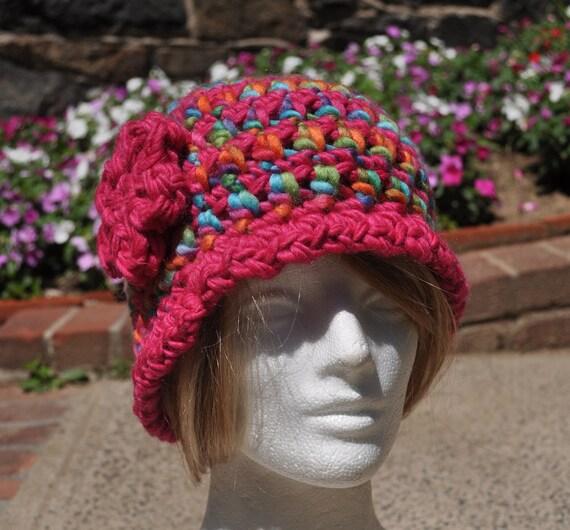Pink Crochet Cloche with Flower - Crochet Wool Hat - Women's Cloche - Bright Pink Hat with Flower - Bucket hat
