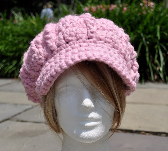 Pink Newsboy Hat - Crocheted Hat in Wool/Acrylic Blend