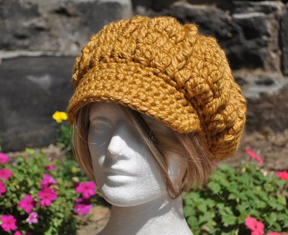 Newsboy Hat Crocheted in 50/50 Wool Acrylic Blend - Woman's Crochet Hat