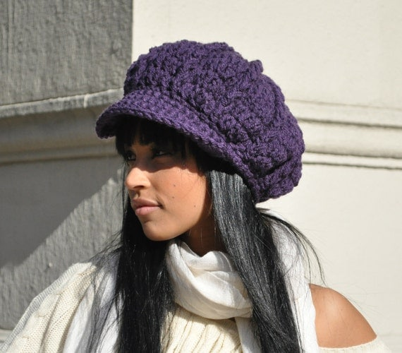 Women's Crochet Hat - Dark Aubergine Purple Newsboy Hat with Brim - Winter Accessories - Women's Accessories Purple Hat